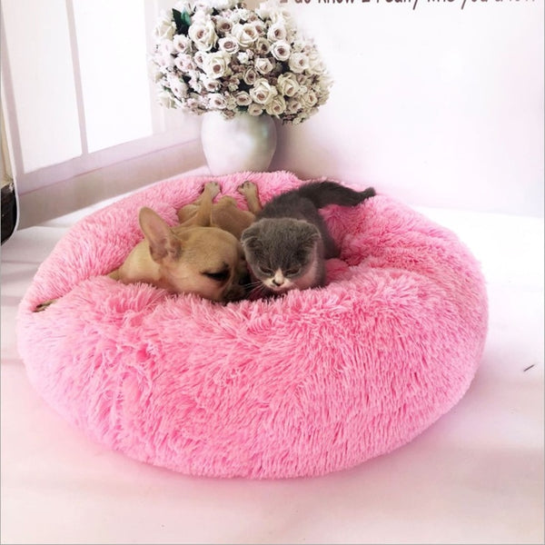Dog bed warm cat kennel washable pet soft cat dog pad warm indoor round pillow small and medium dog artificial fur dog house