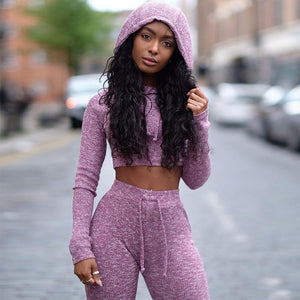 2 Pcs/Set New Hooded Casual Female Sportswear Fitness Suit Women Yoga Sports Sets Workout Sweatshirt Leggings Gym Clothing
