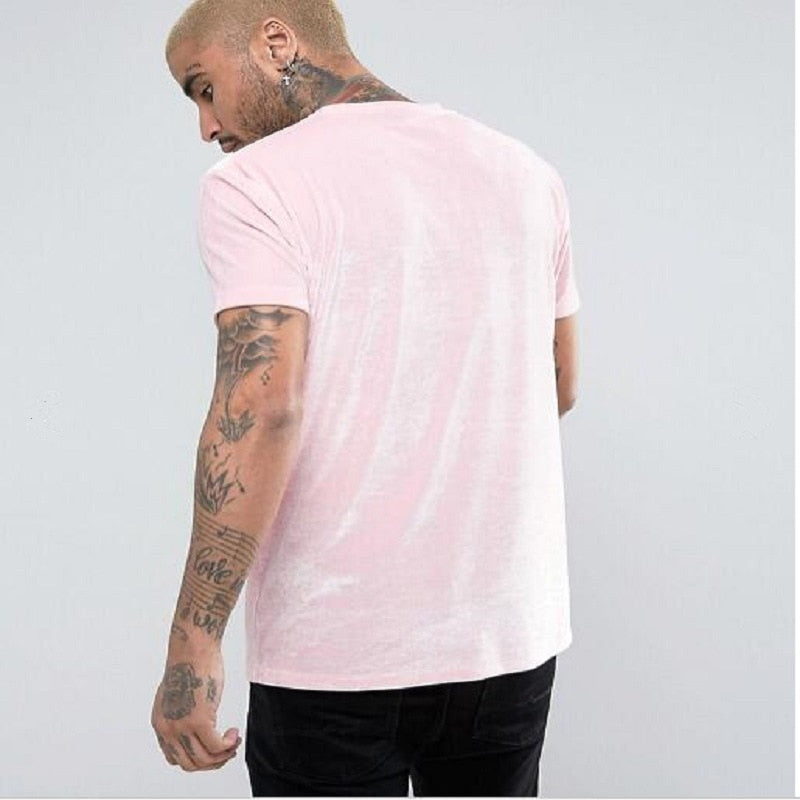 kanye west Men Streetwear Oversized Velour tshirt Solid Color Fashion summer Short sleeve T Shirts Hip Hop Swag Velvet Tees Tops