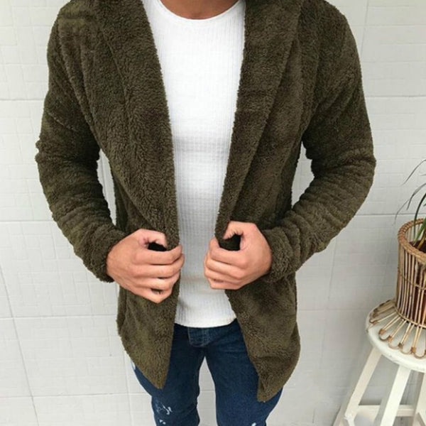 Fashion Fur Hat Cotton Solid Color Jacket Men Causal Outerwear Open Stitch Thick Hooded Jackets Coats Clothes Men Cardigan