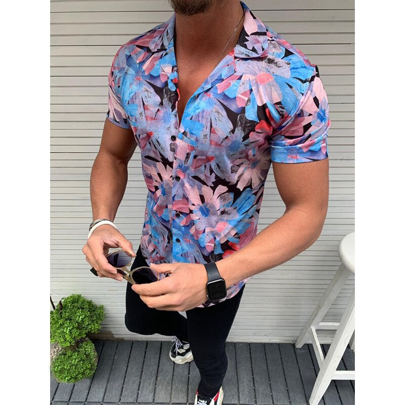 Mens Beach Hawaiian Shirts Print Palm Leaf Summer Short Sleeve Shirt Slim High Quality Male Casual Cotton Button Down Camisa 3XL