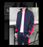Men Fashion Sporting Tracksuit Long Sleeve Hoodies +Pants 2 Piece Set Side Stripe Casual Jogging Run Sets