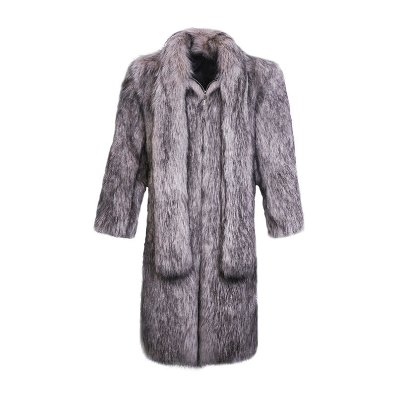 Gray  Winter Turn-down Collar Men's Faux Fox Fur Coat Trench Fur Jacket Thicken Warm Male Large Fur Collar Outwear Clothing