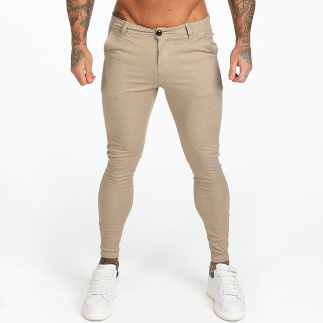 New Autumn Winter Mens Chinos Slim Fit Black Chinos Trousers for Men Stretchy Pants Thick Casual Ankle Tight Fit Street