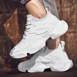 Spring Autumn Trend Men Running Shoes Leather Breathable Sneakers Men Outdoor Walking Sport Shoes Lightweight