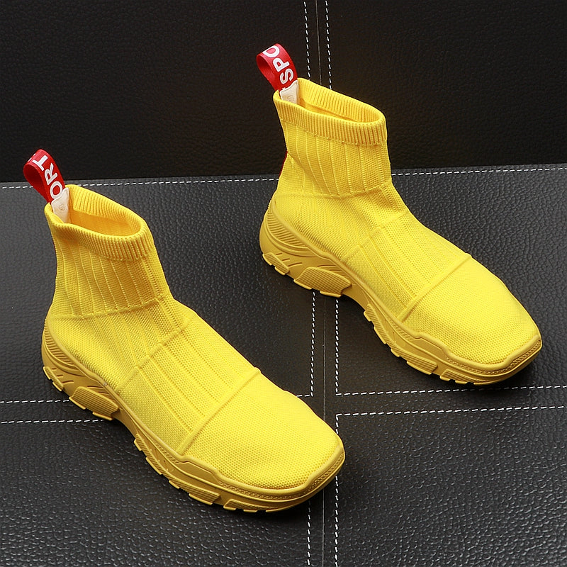 Luxury Mens Yellow Black Casual Comfort Shoes High style Socks Breathable Short Trending Street shoes