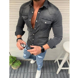 New Men's Denim Fashion Shirts Casual Jeans Jackets Long Sleeve  Pocket Slim Fit Button Autumn Soild Color Turn Down Collar Tops