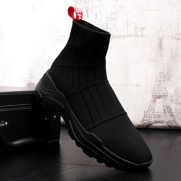 British style mens fashion comfortable knitted fabric sock boots spring autumn ankle booties platform man shoes sneakers slip on