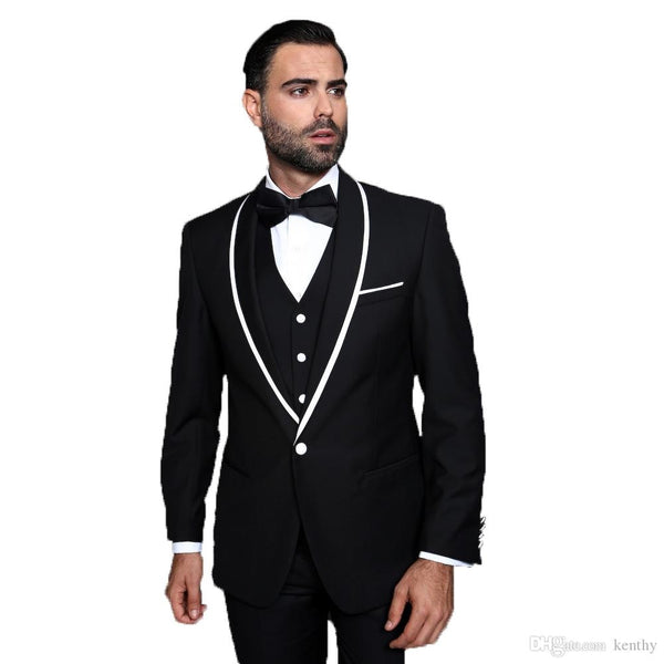Latest Designs Men Suits Black Shawl Lapel Wedding Suits Evening Dress Slim Fit Casual 3Piece Best Man Blazer Tuxedo Party