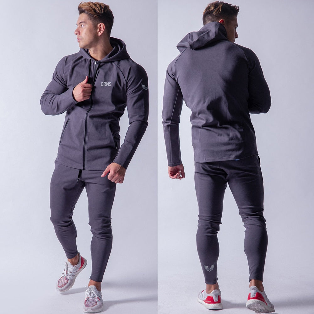 NEW Hoodie Pants Sets Men Tracksuit Running Sport Sweatshirt Joggers Sweatpants Gym Fitness Workout Male Brand Cotton Sportswear