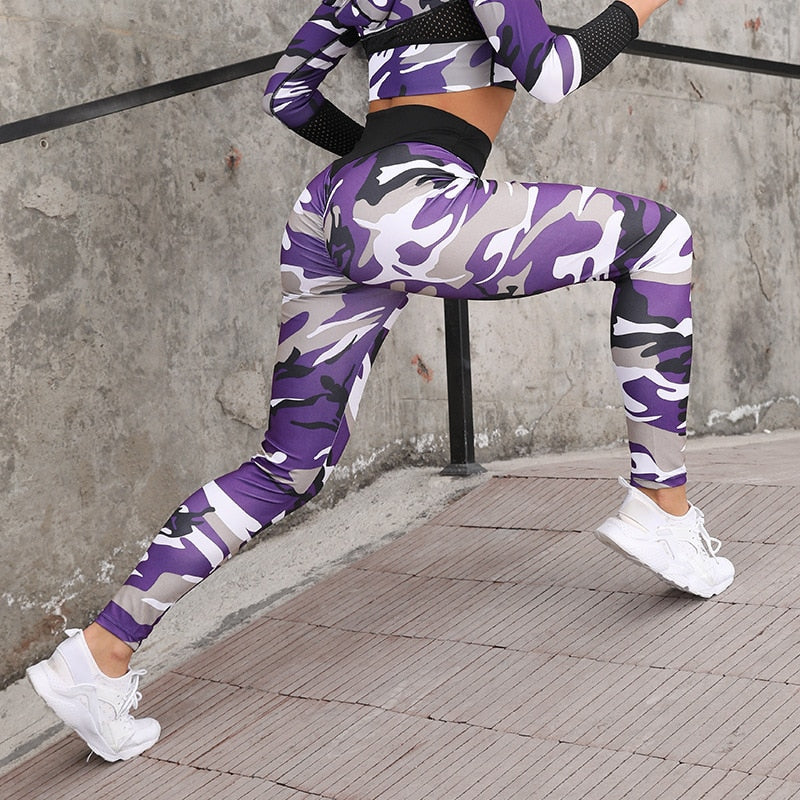 Camouflage Printed Yoga Sets Sexy Women Sportswear Halter Bra & Leggings Tight Fitness Sports Suit Yoga Set Tracksuit for Women