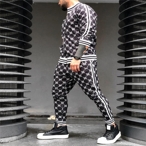 New Printed Men Set Colorful Plaid Men Casual Zipper Set Autumn Spring Sporting Tracksuit Set Male Sweatshirt Multi-pocket Fashion Jackets Men Tracksuit Sets Men 2 Pcs Tracksuit Sportswear  Sweatshirt Pants Suit