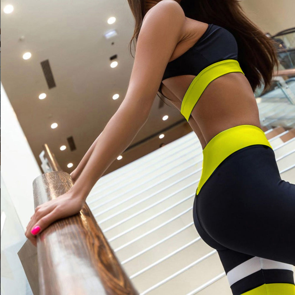 New Women Patchwork Sexy Fitness Yoga Sports Suit Female Sports Bra + Yoga Pants Sportswear Workout Clothes 2 Piece Set