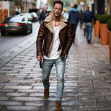 Mens Leather Jackets Male Motorcycle Jacket PU Business Casual Thick Warm Fur Collar Winter Faux Biker Coats Windproof