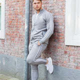 Sports Suit Men Bodybuilding Hoodies+pants Set men Sports Suits zipper Tights Clothes Gym Fitness Running Set Men Tracksuits 2XL