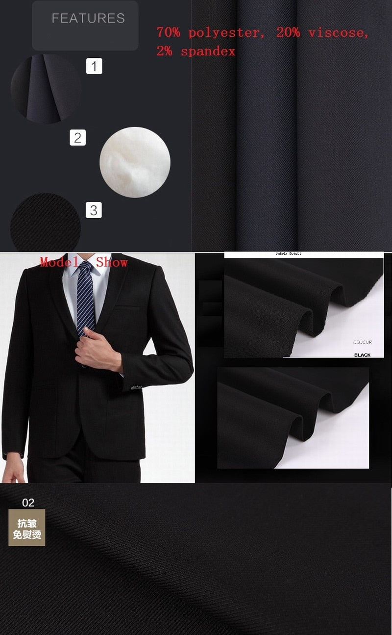 Red Men's Suit Wedding Terno Masculino Man Blazer Costume Homme Party Prom Groom Tuxedo Black Lapel Plus Size Man Attire