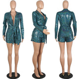 ANJAMANOR Sparkly Sequin Women 2 Piece Set Winter Long Sleeve Blazer and Short Pants Matching Sets Sexy Club Outfits D52-BZ63