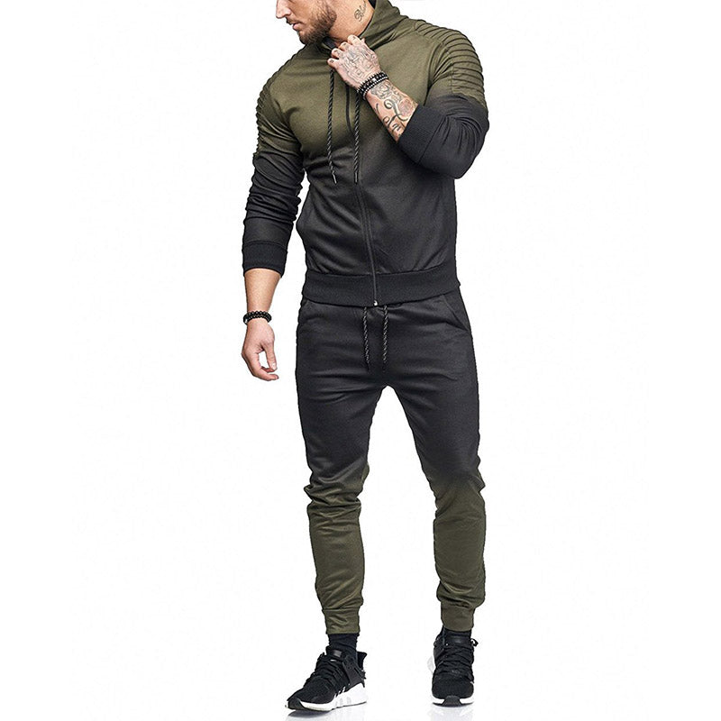 Brand Men Tracksuits Hoodies Gradient Fold Sport Tracksuit Men Sets Hip Hop Jackets+Sweatpants Sports Suits For Men Joggers