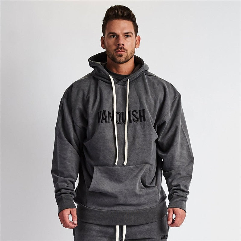 Casual Street Wear Men's Fall Fashion Men's Hoodie Cotton Sports Pullover Jogger Muscle Men Fitness Sportswear Brand Men's