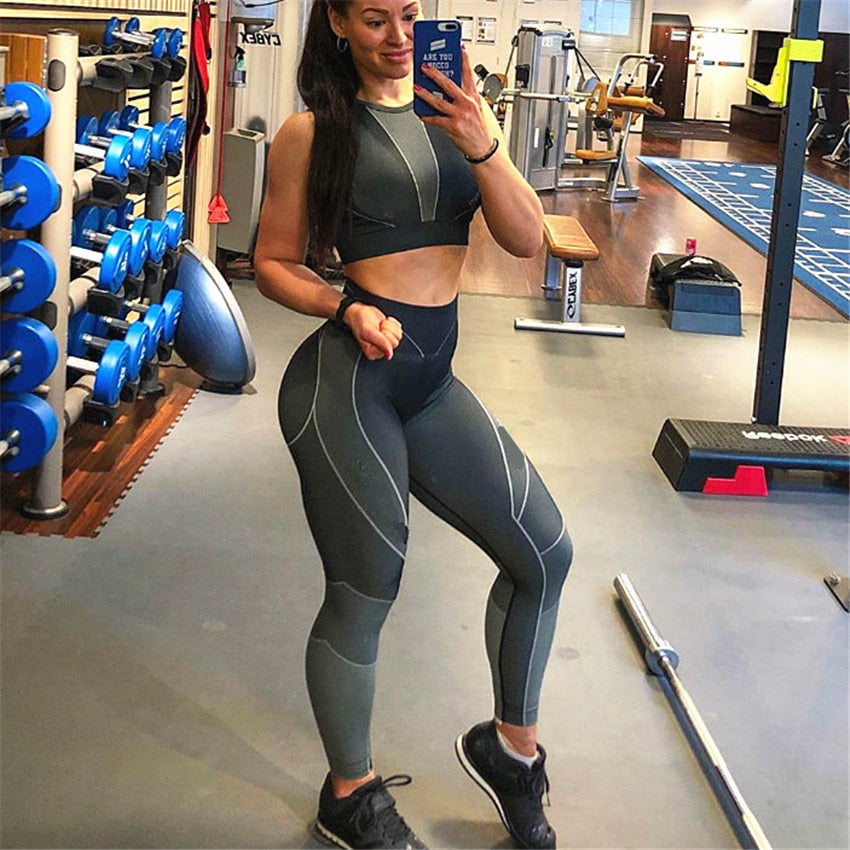 Winter Autumn Engery Ombre Seamless Yoga Set Women Sport Suit Gym Clothes Long Sleeve Fitness Crop Top Leggings Yoga Tracksuit