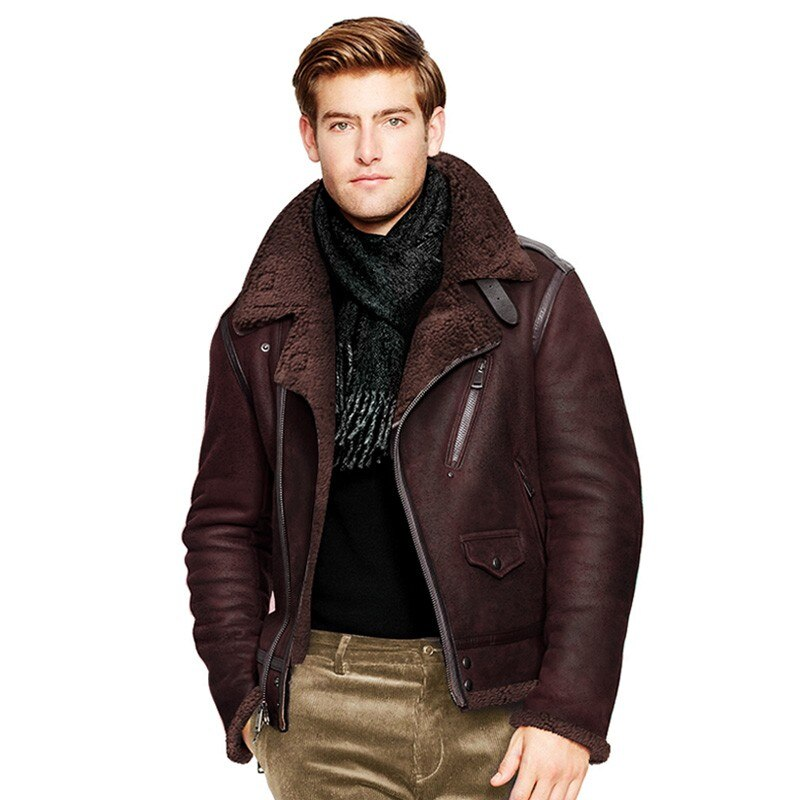 Winter Men Original Natural Shearling Air Force Coat Sheep Fur Lining Motorycle Jacket Slim Fit Genuine Leather Aviator Jackets