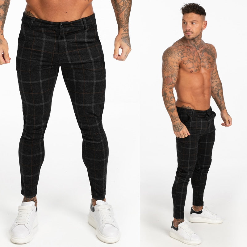 chino Skinny Pants Men Causal Chinos Plaid Pants Men Joggers Grey Streetwear Pants Slim Fit Tactical Trousers For Men