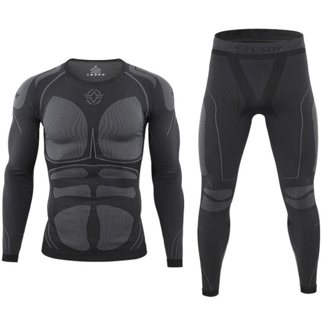 Seamless tight tactical thermal underwear men Outdoor sports function breathable training cycling thermo underwear long johns