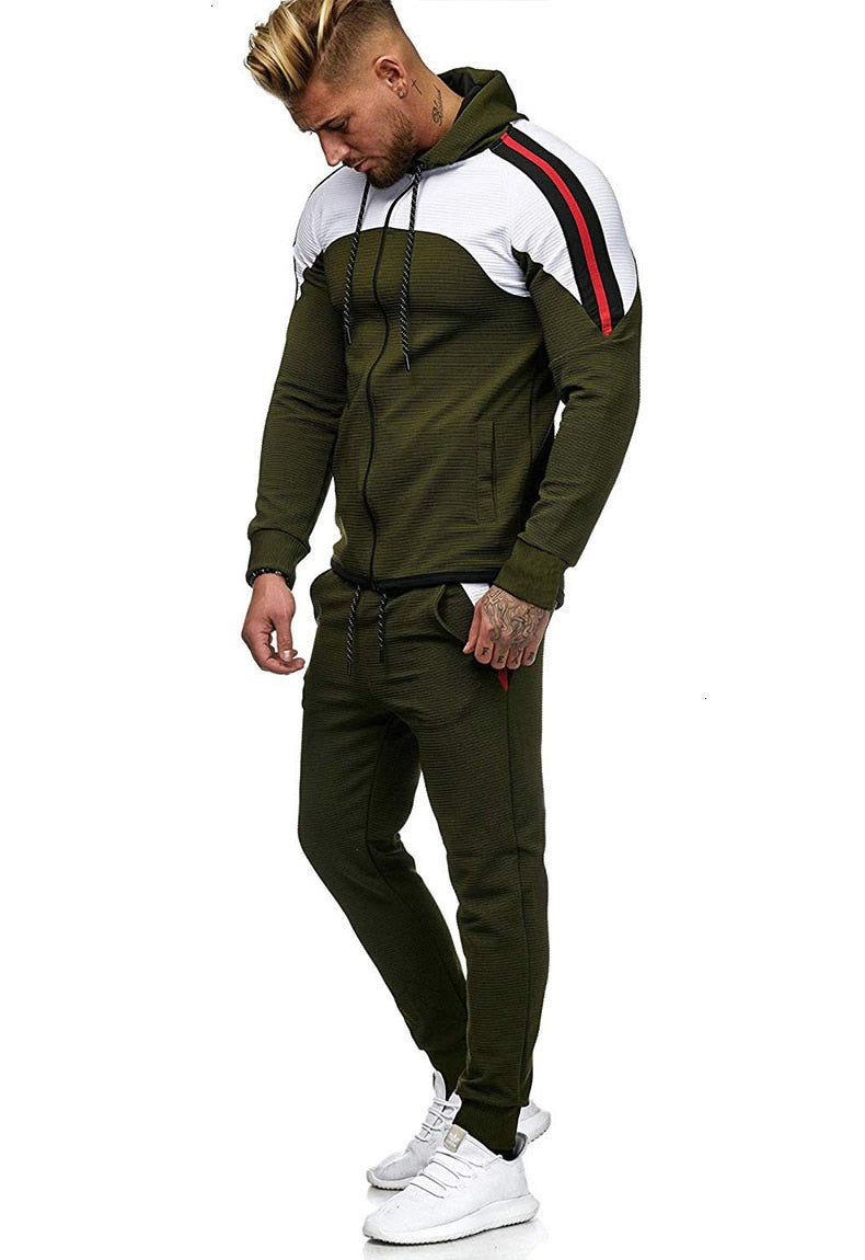 5XL Two Piece White Men Tracksuits Hoodies Men's Clothing Brand Tracksuit for Men Sports Sets Patchwork Hoodies Sportswear