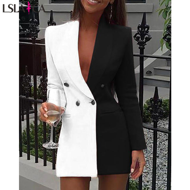 New party dress long sleeve V-neck Colorblock Patchwork Blazer Dress fashion casual button slim elegant mini female club dress