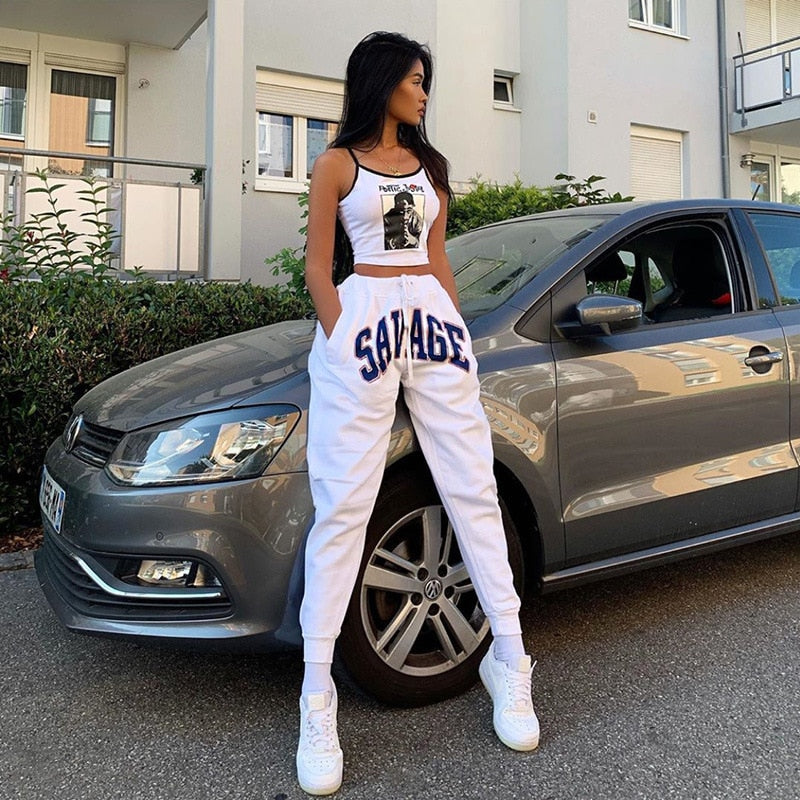Shestyle Spring New Design Streetwear Pant Women White Letter Print Drawstring Boot Cut Cargo Jogger Pants Dancing Trousers