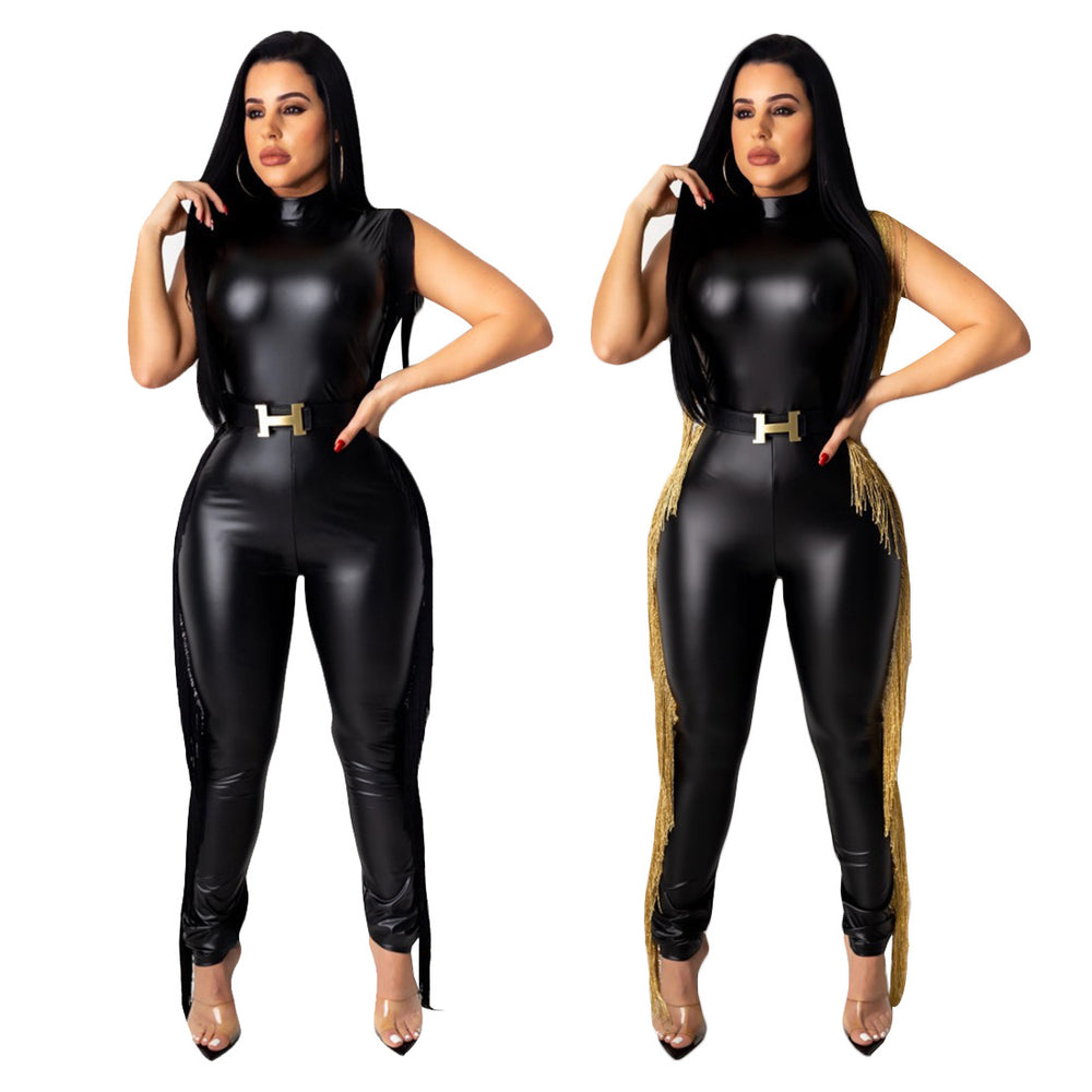 Spring Women Jumpsuit Side Balck GoldTassel PU Leather Sleeveless Overalls Rompers Womens Jumpsuit Plus SIze xxl