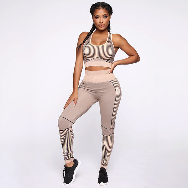 Women Sportswear Yoga Set Running Suit Stripes Gym Sleeveless Vest Leggings Sports Set Push Up Tights Fitness Sports Clothing
