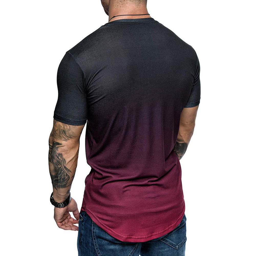 Summer Fashion Do old printing Men Gradient Color Short Sleeve Round Neck T-Shirt Slim Fit Top