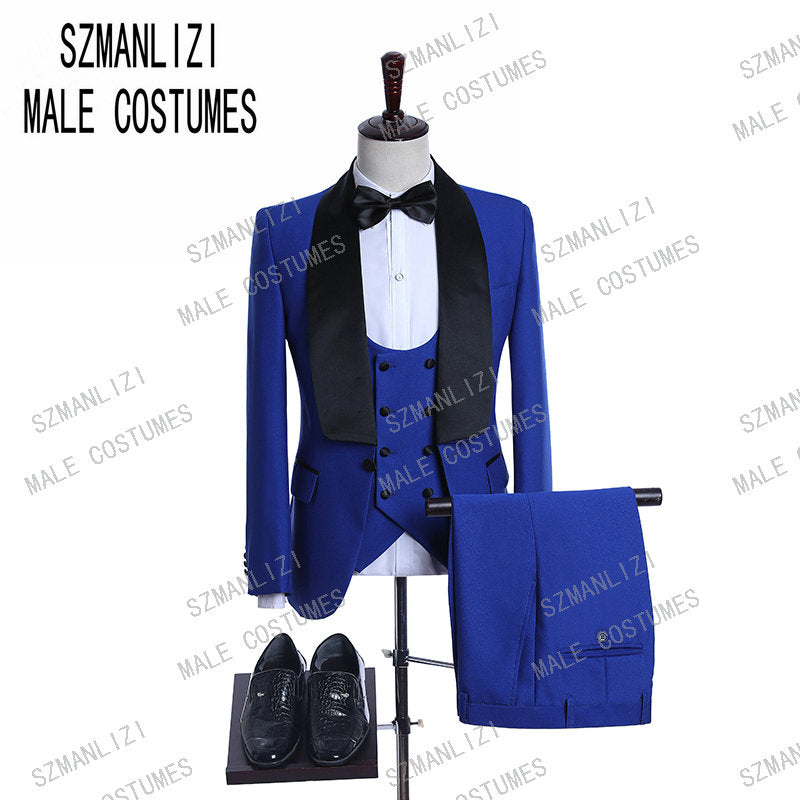 Black Jacquard Jacket Men Suit Slim Fit Wedding Tuxedo Custom Made Wedding Groom Party Suits Costume Homme Best Man Blazer