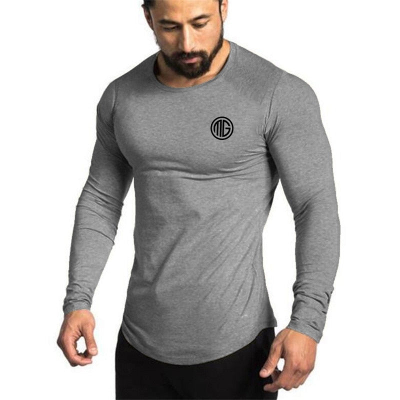 Muscleguys Brand Fashion Clothes Solid Color Long Sleeve Slim Fit T Shirt Men Cotton Casual T-Shirt Streetwear Gyms Tshirts