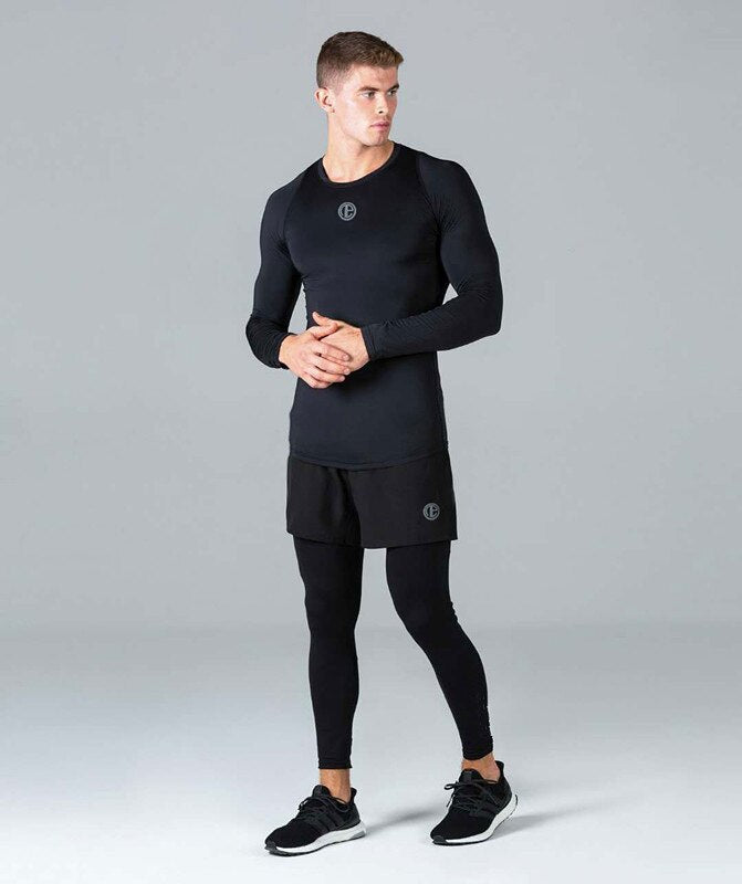 Fashion New Men Fitness Long Sleeve Shirts Cotton Bodybuilding Workout Gym Sport T Shirts Top Clothes