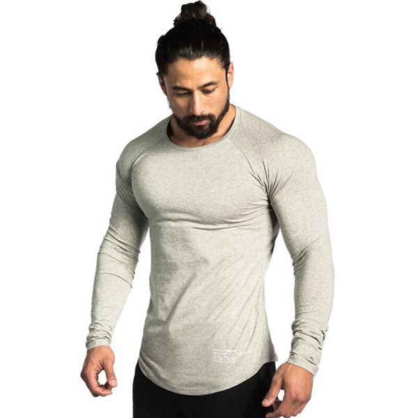 Men Casual Skinny Cotton T-shirt Gyms Fitness Bodybuilding Workout Long sleeve Black Tee shirt Tops Male Crossfit Brand Clothing