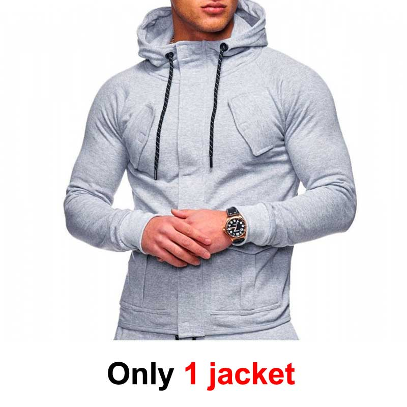 Zipper Tracksuit Men Set Leisure 2 Pieces Sweatsuit Mens Sweatshirts Sweatpants Hoodies Jacket & Pants Men Sportswear Suit MY057