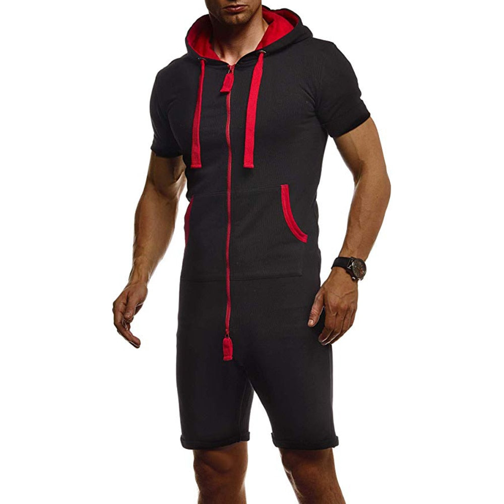 Summer Men Short Jumpsuits One Piece Short Sleeve Zipper Hooded Overalls Sets Fashion Mens Solid Tracksuit Sets Sportwear