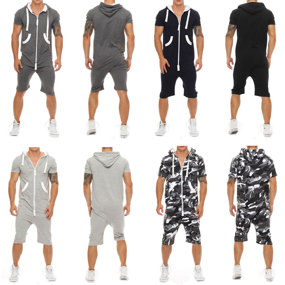 Men Short Sleeve One-Piece Suits Jumpsuit Playsuits Romper Pokect Men's Jumpsuit One Piece Outfits Short Sleeve Zipper Overall
