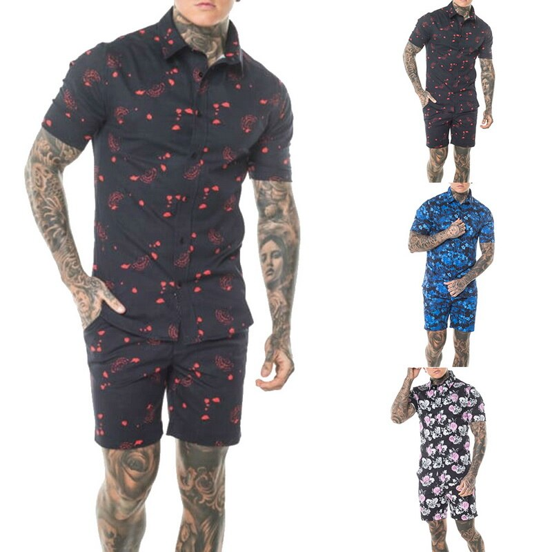 Summer Fashion Floral Print Shirts Men+Shorts Set Short Sleeve Shirts Casual Men Clothing Sets Tracksuit Plus Size