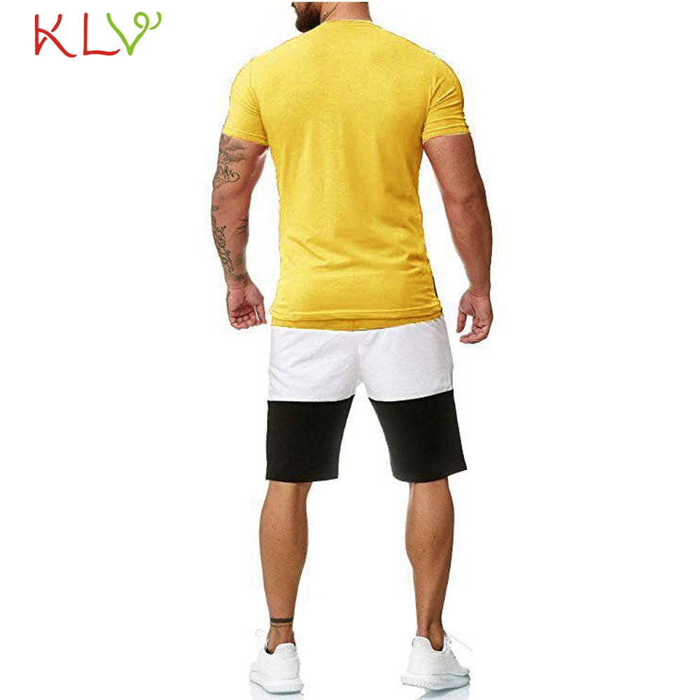 Men's Summer Sports Suit Fitness Running Two-piece T-Shirt Sets Tight Tight Tight Pants Men's Jogging Men's Track Suit Clothing