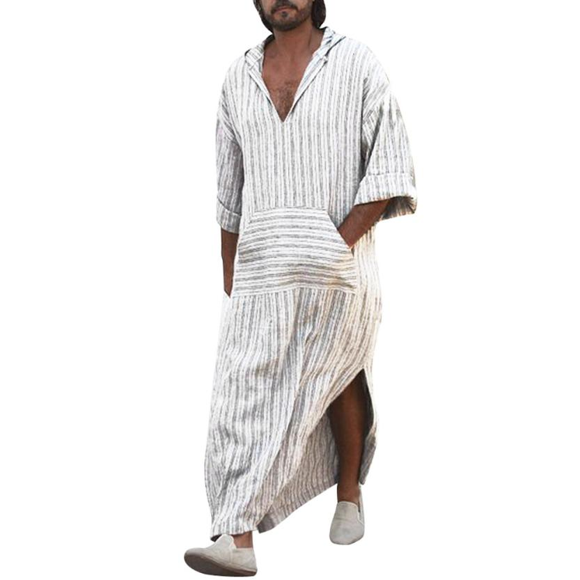 tops Men's t-shirt Ethnic Robes Loose Striped Long Sleeve Hooded Vintage Casual Dress Kaftan men's t shirt casual 2018jul19