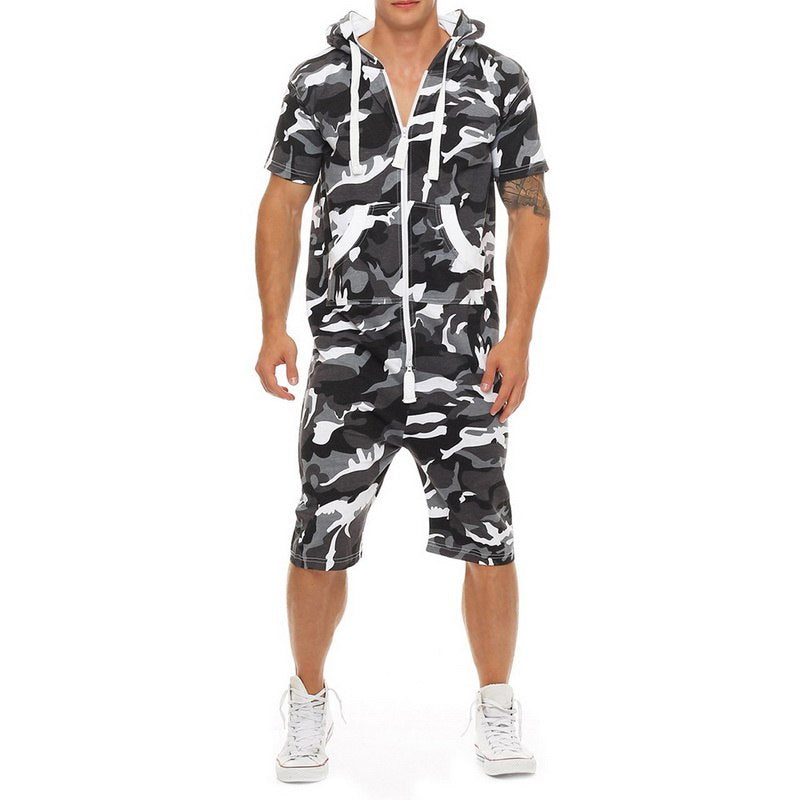 Male One-piece Garment Pajama Playsuit Zipper Hoodie Male Onesie Camouflage Print Jumpsuit Streetwear