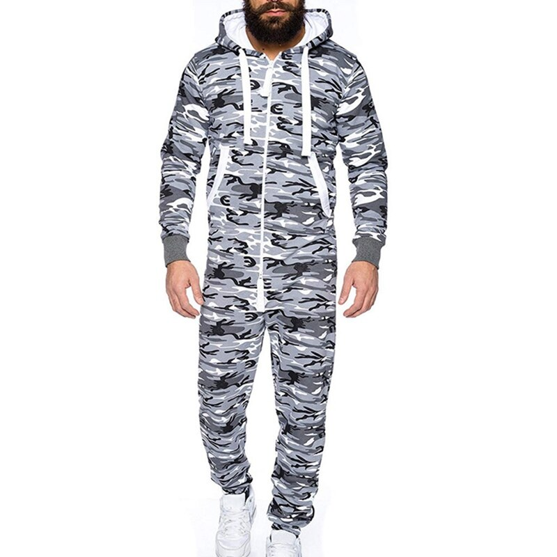 Male One-piece Garment Pajama Playsuit Zipper Hoodie Male Onesie Camouflage Print Jumpsuit Streetwear Overalls
