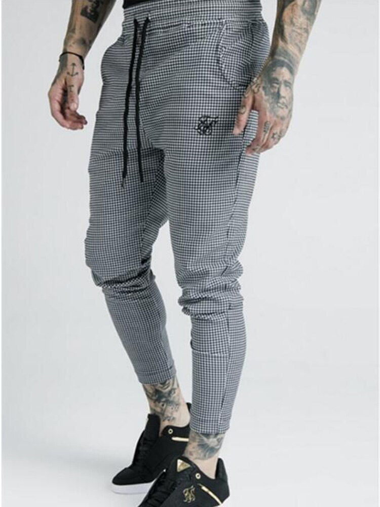 Men's Fashion Summer New Plaid Sik Silk Printing Casual Sports Trousers Men Street Hip Hop Fashion Slim Pants Polyester