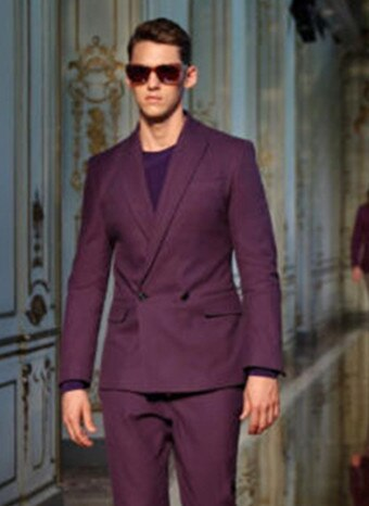 Fashion Double Breasted Men Suits Blazer With Pants Bespoke Mariage Homme Wedding Tuxedos Purple Best Mens Suit (jacket+Pants)