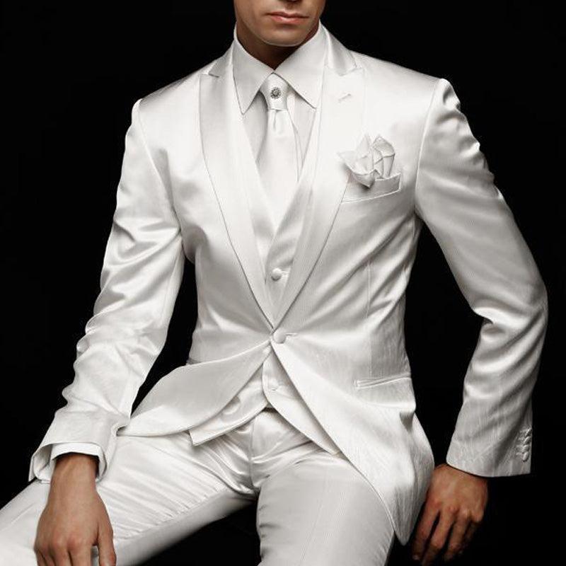 White Slim Fit Mens Suit for Wedding Groom Tuxedos Prom Party Custom Satin 3 Piece Man Set Jacket Pants Vest Male Clothes