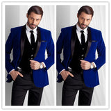New Style Royal Blue Velvet Groom Tuxedos groommens suits One button Groom wedding suits for mens 3 Pieces(Jacket+Pant+Vest)