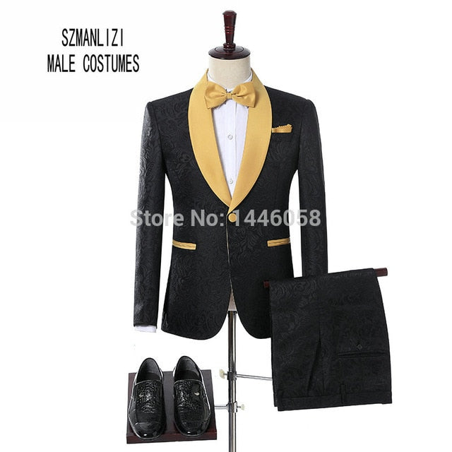 Elegant Black Velvet Gold Flower Double Breasted Groom Tuxedo For Men Wedding/Prom Suits Mens Suits With Pants Bridegroom